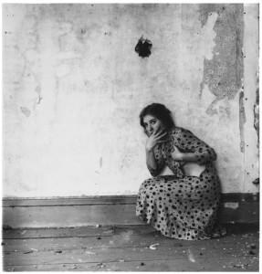 Eating the darkness songwriting inspiration Francesca Woodman polka dot dress peeling wallpaper floorboards empty room abandoned house self-portrait