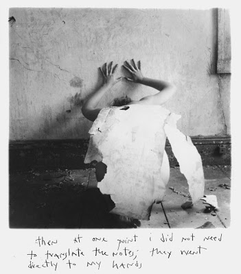 Eating the darkness songwriting inspiration Francesca Woodman peeling wallpaper floorboards empty room abandoned house woman self-portrait