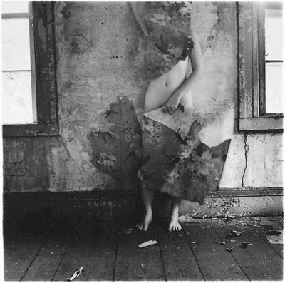 Eating the darkness songwriting inspiration Francesca Woodman Wallpaper empty room abandoned building naked floorboards self-portrait