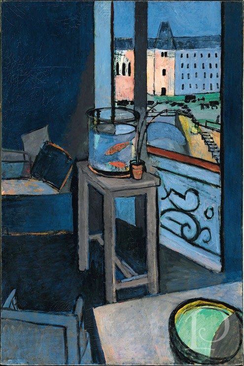 Henri Matisse Les Poissins Rouges painting Interior with Goldfish Bowl blue room chambre bleue artwork painting