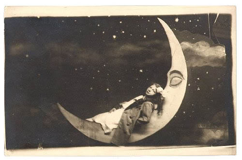 Woman in the Moon, photographer unknown. Illustration for the song Mr. Moon by Frances Livings