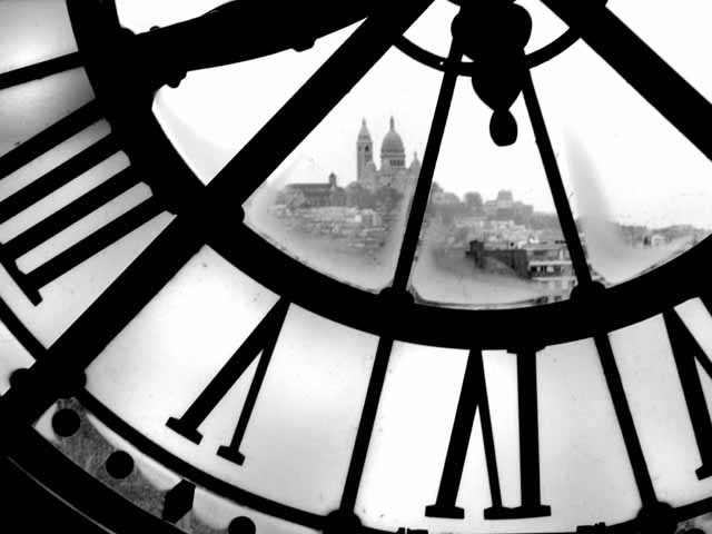 Museums Paris, Contemporary art photography, black and white photo, clock