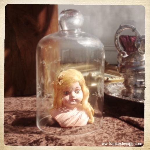 Eating the Darkness illustration song porcelaine doll's head under glass bell jar