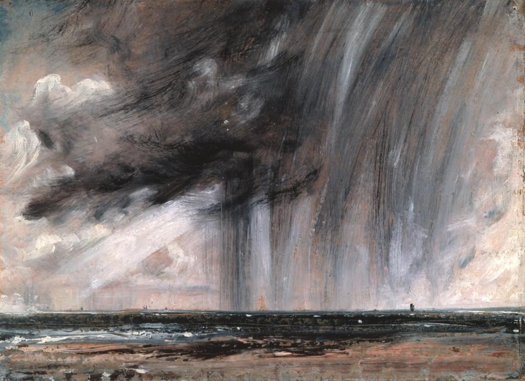 Oil painting by John Constable, Rain storm over the sea (Seascape Study with Rain Cloud) circa 1827