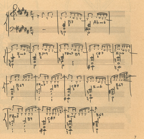 Original score in Jobim's handwriting, published in the Disco the Bolso (Pocket Record), a bonus record included in the weekly magazine O Pasquim, printed in Rio de Janeiro, May 1972