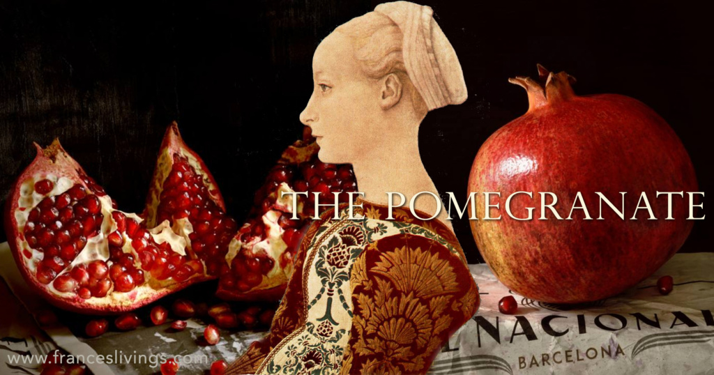Pomegranates open and still closed pomegranate seeds costume woman sitting old painting