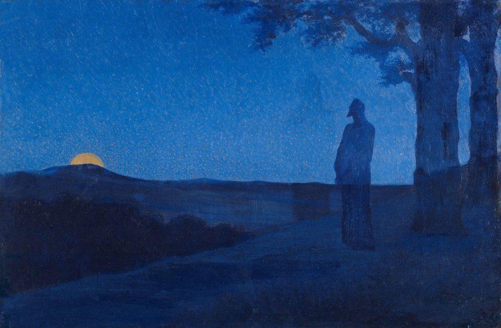 lonesome figure horizon sun set blue landscape solitude tree